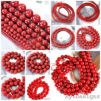Natural Gemstone Coral Round Loose Beads 16''2 3 4 5 6 7 8 10 11 12mm Free Ship