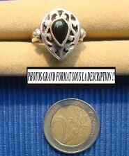 V3 Bague argent massif 925 vintage bijou lot ancien onyx ethnique