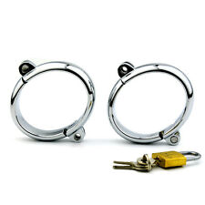 Stainless Steel Handcuffs Metal Wrist Restraint Cuffs Slave Roleplay For Adult