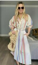 Lemlem x H&M by Iiya Kebede Lyocell Striped Kaftan Belted Dress sz L