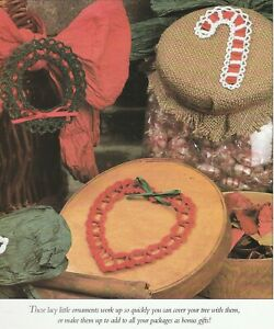 Christmas Ornaments Trims - Wreath, Heart & Candy Cane - Crochet Pattern ONLY