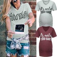 Women Maternity Short Sleeve Tops Letter Blouse Pregnancy V Neck T Shirt Clothes