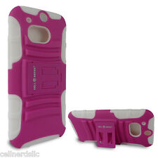 HTC One M8 case and Belt Clip Holster with stand Pink on White