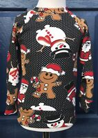 Lovely Kids Christmas Jumper With Gingerbread,Santa And Snowman