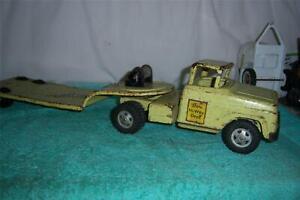 "Tonka State Hi-Way Dept Lowbow Semi-Truck 1958 /w Winch Parts-Restore 26 "" Long"