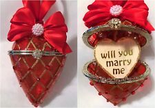 Will you marry me Red Glass heart xmas tree bauble, engagement proposal keepsake