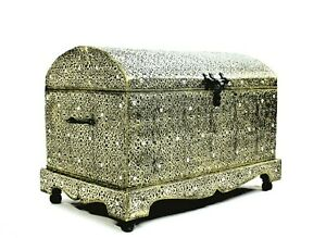 Silver Chest Large Old Fashioned Authentic Moroccan Trunk Cedar Wood Storage Box