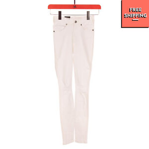 DR. DENIM JEANSMAKERS Jeans Size S Stretch White Ripped Garment Dye Zipped