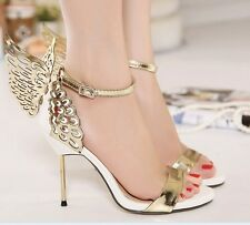 Hot Womens Butterfly Wings Open Toe Ankle Strap Stiletto High Heel Sandals Pumps