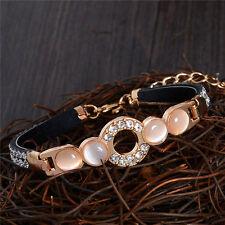 NUOVO Pelle Di Lusso Placcato Oro cristallo austriaco Bracciale Bangle gioielli regalo