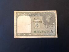 -British India One Rupee 1940 Banknote George VI P   25 d Green Serial Number