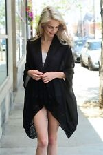 Ladies Mid Length Black Kimono with Banded Trim-ON SALE NOW! - $24.99!