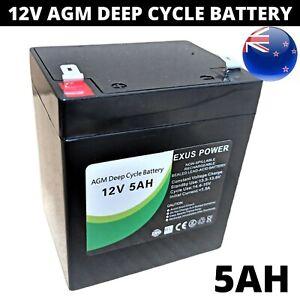 12V 5Ah AGM Deep Cycle Battery rechargeable SLA Alarm Sealed > 4AH 4.5Ah < 6Ah