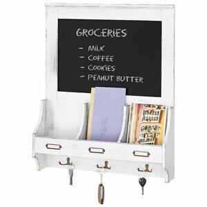 MyGift Vintage White Wood Mail Organizer Wall Rack with Chalkboard and Key Hooks