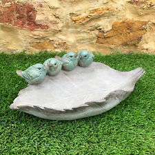 Resin Garden Four Birds On Leaf Bird Bath Feeder Dish Sculpture Ornament Gift