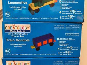Lot of 3 CREATOLOGY Wooden Model Train Kits LOCOMOTIVE/GONDOLA/CABOOSE New 5+