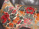 Antique European pillows cut VELVET fabric rich colors floral damask Custom PAIR
