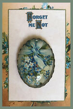 Forgot Me Nots TIED IN BLUE RIBBON Glass Dome OVAL BUTTON Vintage FLORAL ART