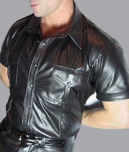 Men's Real Cowhide Leather Police Uniform Shirt Short Sleeve BLUF Shirt