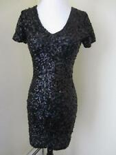 Vintage Black Stretch Sequin Dress Sexy Club Bodycon 80's 90's Size S M