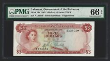 BAHAMAS $3 Dollars 1965, P-19a Government Issue, PMG 66 EPQ GEM UNC, QEII Type