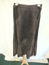 "Ladies Skirt NEXT UK 12 brown real leather, waist 32"", length 36"", lined 1938"