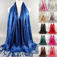 Women Ladies Tassel Pashmina Scarf Shade Stole Shawl Wrap Soft Hijab Scarves New