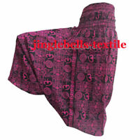 INDIAN NEW PINK TROUSERS COTTON OM PRINT BAGGY GYPSY HAREM PANTS YOGA MEN WOMEN