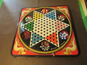 Vintage Hop Ching Chinese Checkers Rotating Board with Marbles - Pressman USA