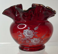 Signed FENTON Ruby Red Glass Hand Painted Signed Debi A Floral Fluted Bowl Vase