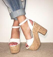TOPSHOP White Leather Ankle Strap Extreme Platform Cork Block Heels Size 6 / 39