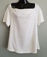 BNWT Womens Sz XL 16 MIX Brand White Short Sleeve Cowl Neck Style Top