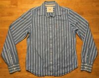 Hollister Men's Blue & White Striped Long Sleeve Dress Shirt - Size Large