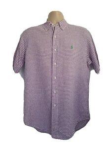 Ralph Lauren Mens Medium Immaculate Vintage Purple White Check 100% Linen Shirt