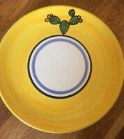 "DERUTA Italy 10"" Italian Pottery Plate / Wall Hanging Handpainted Cactus Yellow"