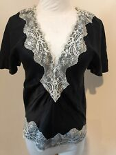 night birger et mikkelsen black lace trim over silk blouse top shirt Sz 36 XS