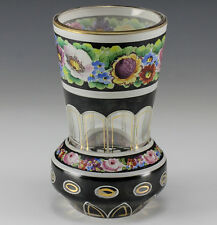 Bohemian Art Glass Vase Double Layered glass with hand painted floral design