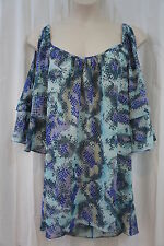 Swim Cover Coco Bianco Sz M  Blue Gray Multi Color Sheer Beach Wear Cover Up