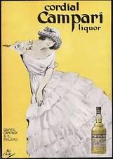 PUBBLICITA' 1924 CORDIAL CAMPARI LIQUORE LIBERTY DRINK BAR BOSCHINI MODA DONNA