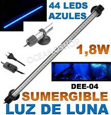 TUBO LUZ DE LUNA AZUL 40CM PANTALLA SUMERGIBLE 1,8W ACUARIO LED  GAMBARIO PECERA