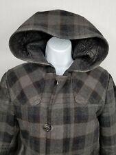 Sisley Vintage Women's Plaid  Hooded  Coat/Jacket  Size Medium