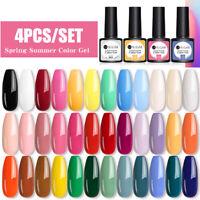 UR SUGAR 4pcs Nail Gel Polish Set Soak Off UV LED Colour Base Top Coat Varnish