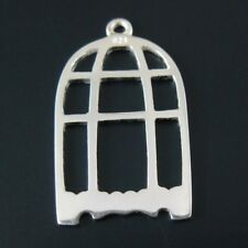 Solid Sterling Silver Bird Cage Pendant Charm Finding 25mm