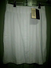 New Culture 6 White Soft Green Pinstripe Split sides Pencil Skirt