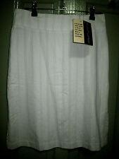 New Culture 6 White Soft Green Pinstripe Split sides Pencil Skirt