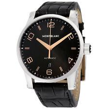 Montblanc Timewalker Automatic Black Dial Black Leather Mens Watch 110337