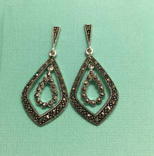 Gorgeous Large Sterling Silver & Marcasite Statement Earrings