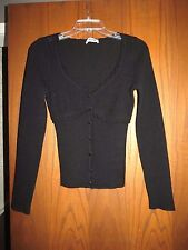 Moschino Cheap & Chic Black Wool Pointelle Knit Rhinestone Buttons Cardigan 6