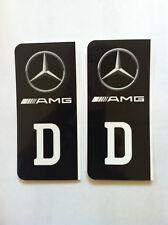 D-Sticker Auto Aufkleber Kennzeichen Wappen drei Stern schwarz AMG TOP