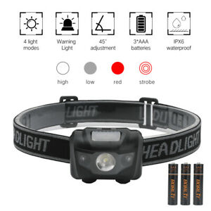 3W Red White Light Rechargeable 4Mode Headlamp LED Flashlight Camping Head Light